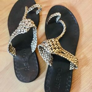 Report Braided Gold Sandals
